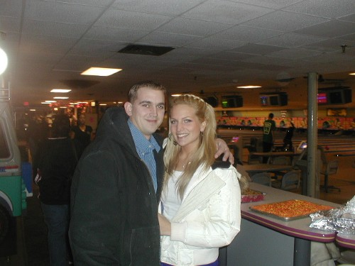 Eric Nordstrom and Lauren Topper, two bowlers in the Brunswick Mixed League.  Eric is the Sprisslers' nephew.