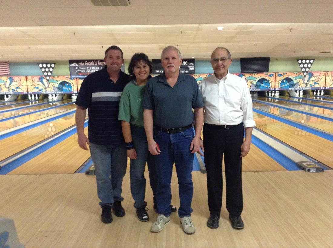 "2012-13 Coke Classic League 2nd third champions, ""Riordan"" (L-R: Tim Riordan, Tina Gannon, Bill Briggs, Tony Attardo)"