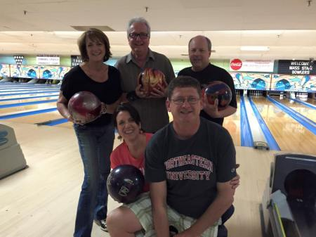 2014-15 Brunswick Mixed league champions, Bowling Stones (Front, L-R: Ellie Painter, Warren Painter; Rear, L-R: Lisa Frisbie, Alex Frisbie, Peter Cappola)
