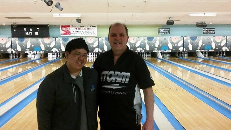 Danny Khuu & Jim Ferguson, who bowled a 600 doubles game in the state tournament on May 1 at Greylock Bowl & Golf (Photo by Sean Richard; taken at Westgate Lanes)
